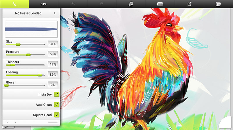 Brush presets for painting of a chicken