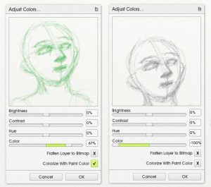 colorize grayscale sketch adjust layer colors artrage 5