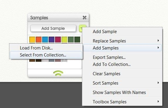 Browse and load existing collections, using the Samples menu