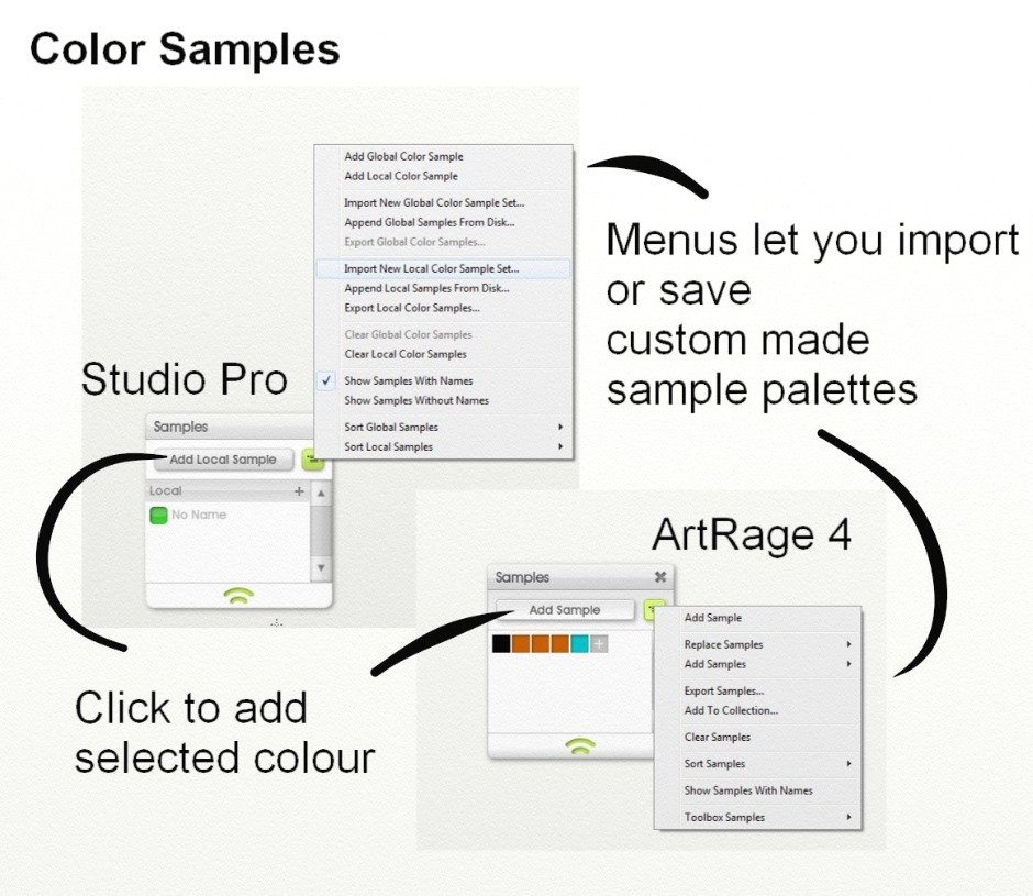 A quick guide to the Samples menus in ArtRage
