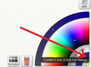 Click on the 'current color' ring in the active Color Picker t quickly access various options.