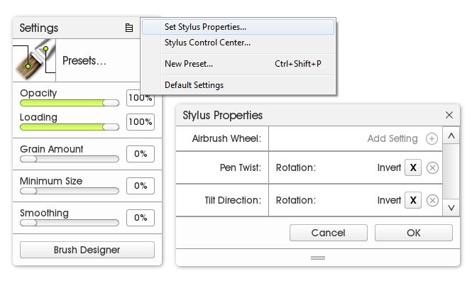 custom brush tool settings set stylus proprties artrage 5