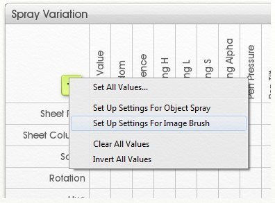 default settings spray variations panel artrage