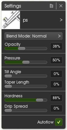 Airbrush settings for adding detail.