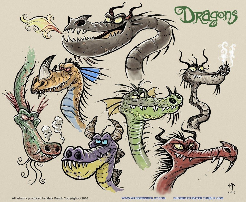 dragon sketches02 artrage art by Mark Paulik