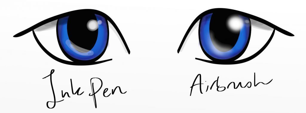 eye highlights ink pen airbrush  manga tutorial