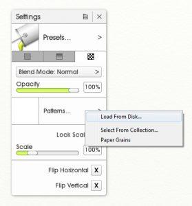 fill tool pattern fill load image artrage 5