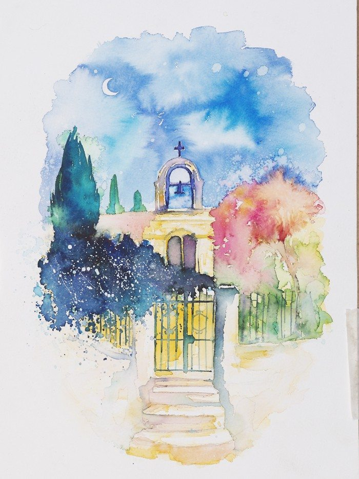 """Gateway"", from Alonnisos, Greece. Watercolor painting by Annie Wood"