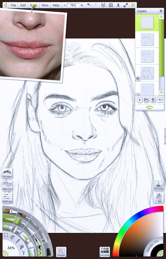 img 4 - Sketch complete portrait tutorial by Paul Hinch-Worman
