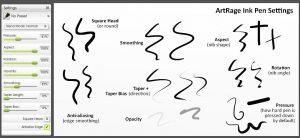 ink pen settings artrage