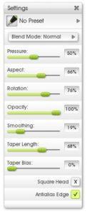 ink pen tool settings menu