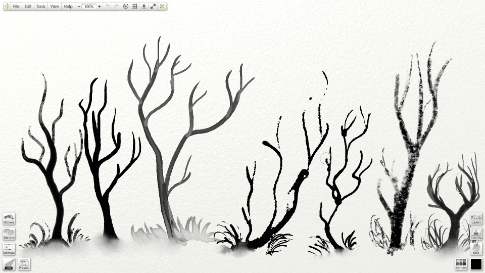 screenshot inked trees in artrage 4