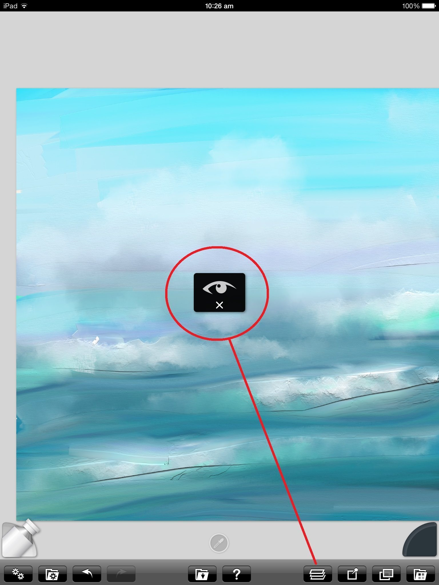 The eye symbol will appear when you try to draw on a hidden layer.  Open the Layers menu down on the right to change this.