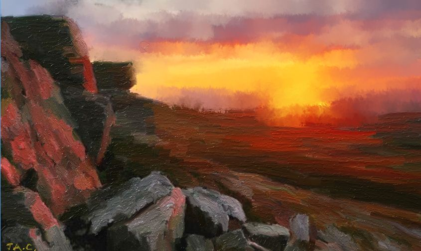 Pen Allt Mawr by Joseph Anthony Connor From 'Welsh Winter Light' En Plein-Air Series'