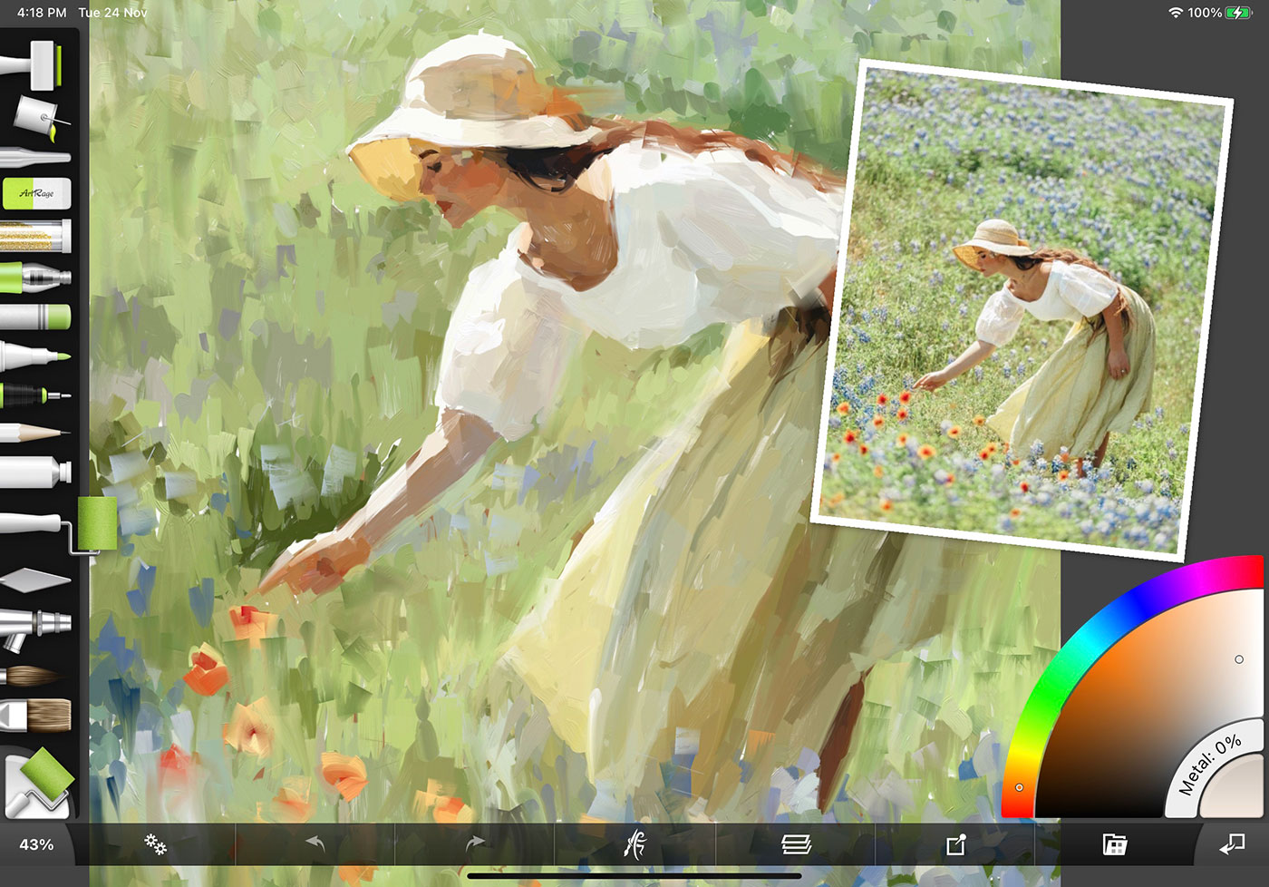 iPad app showing painting of a woman picking flowers in a field