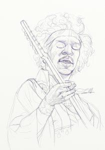 Jimi Hendrix sketch by Teoman Mete CAKICI