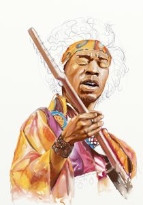 Jimi Hendrix colouring WIP by Teoman Mete CAKICI