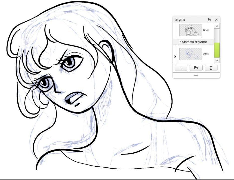 lines inked sketch manga tutorial artrage