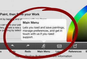 main menu button in artrage for ipad