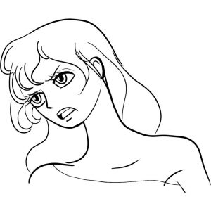 manga line art ink pen portrait artrage
