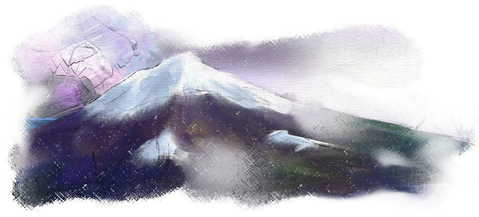 ArtRage mountain with oils and canvas texture