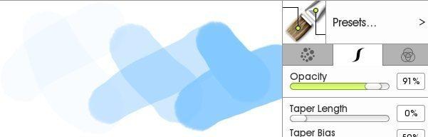 Настройки непрозрачности мазка по индивидуальному дизайну кисти ArtRage 5