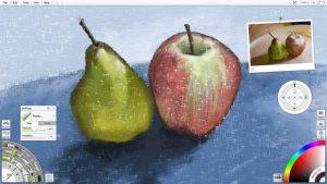 pastel fruit apple pear still life artrage lite small