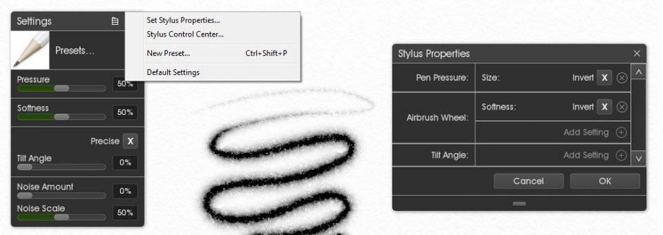 pencil tool settings artrage 5 stylus properties