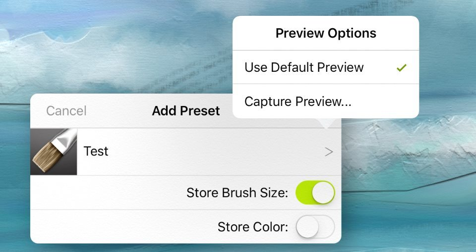 save new preset artrage for ipad