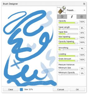 stroke settings custom brush designer ArtRage 5