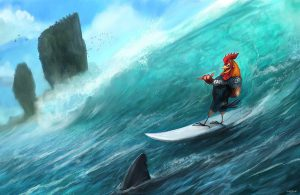 Surfing Rooster by Steve Goad