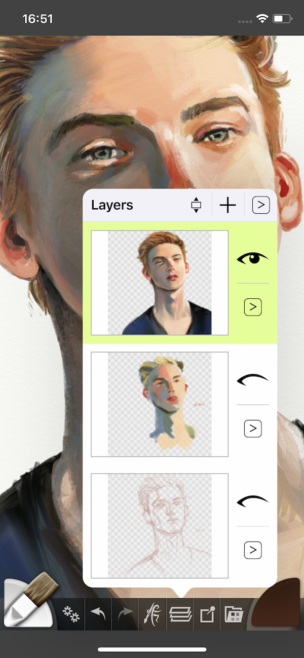 Layers of a human face showing in the iPhone app